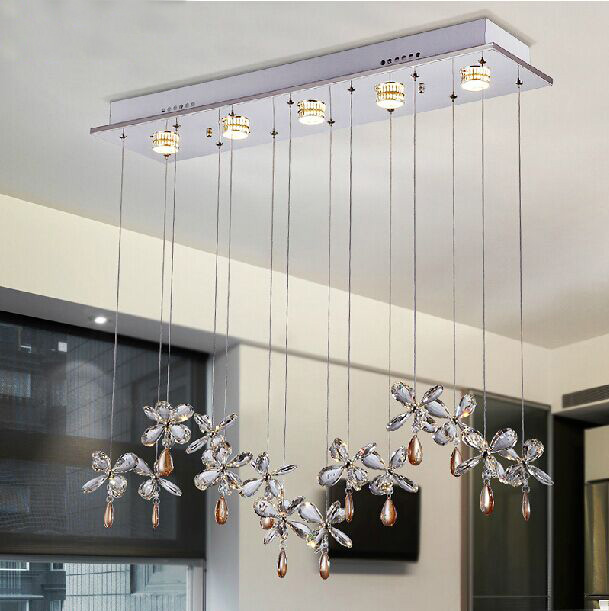 Youlaike Modern Chandelier Lighting For Dining Room Rectangle Crystal Light Fixture Flush Mount Hanging LED Lustre Cristal Lamp
