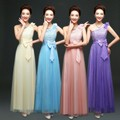 ZX168C#wholesale 2016 Puff shoulder long section of the annual toast sisters married fashion bridesmaid's gown dress