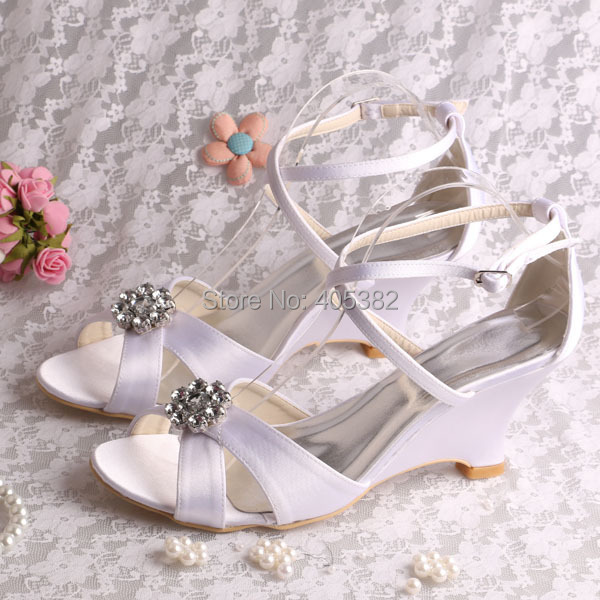 (20 Colors)Latest Design Summer Lady Wedge Heels Sandals White for Wedding 2016 Size 8