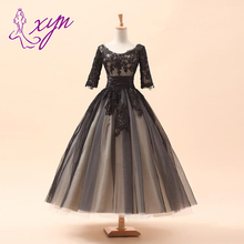 2014 New Hot Sales Scoop Neckline Beaded A-Line 3/4 Sleeve Lace Vintage Short Black Wedding Dresses Bridal Gowns Custom Made W92