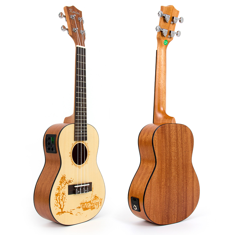 Kmise Concert Ukulele Solid Spruce Electric Acoustic Ukelele 23 inch Uke 3 Band Pre Amp On Board Tuner 1/4 Mono Jack Out Put concert acoustic electric ukulele 23 inch high quality guitar 4 strings ukelele guitarra handcraft wood zebra plug in uke tuner