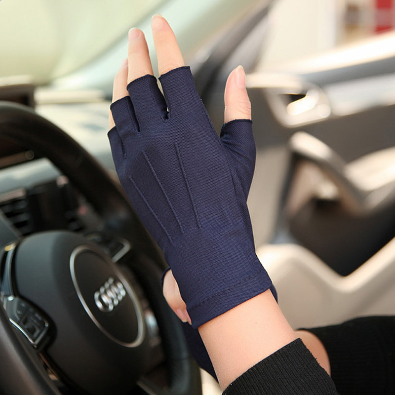 Semi-Finger Gloves Male Sweat-Absorbent Breathable Anti-Slip Driving Summer Gloves Half Finger Men Mittens SZ104W(China)