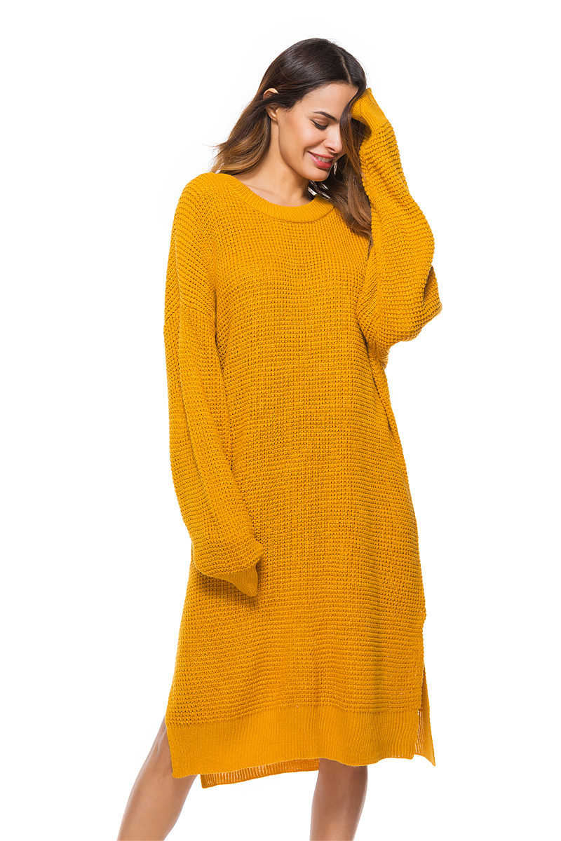 Fall Winter Vintage Mustard Side Slit Crochet Sweater Dress for Women Cute Ladies Retro Cosy Loose Split Pullover One Size 21
