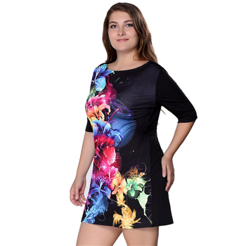 Plus Size Women Clothing Summer Dress Big Size 6XL Women Dress Print 5XL Dress Black Casual Mini 4XL Party Dresses Vestidos 1