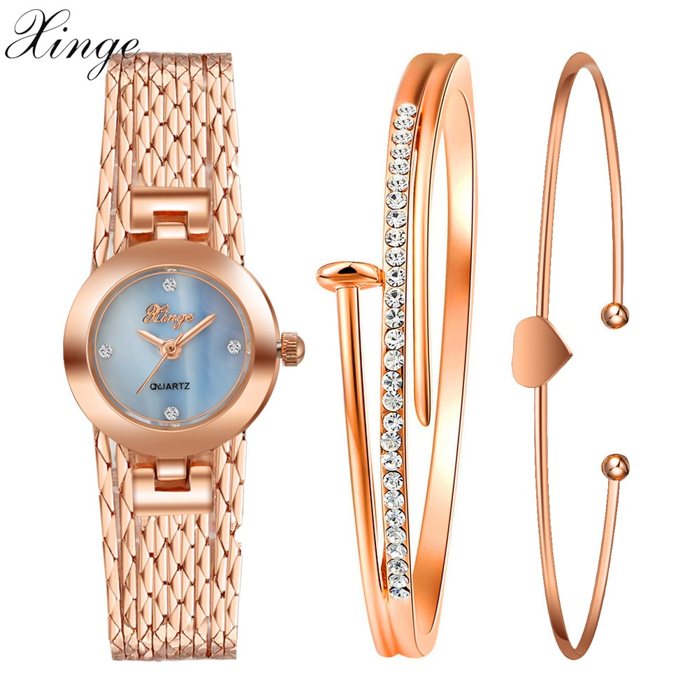 f13bef0c794 Xinge New Top Brand Luxury Women Watches Popular Gold Rhinestone Bracelet  Watch Set Jewelry Fashion Watches