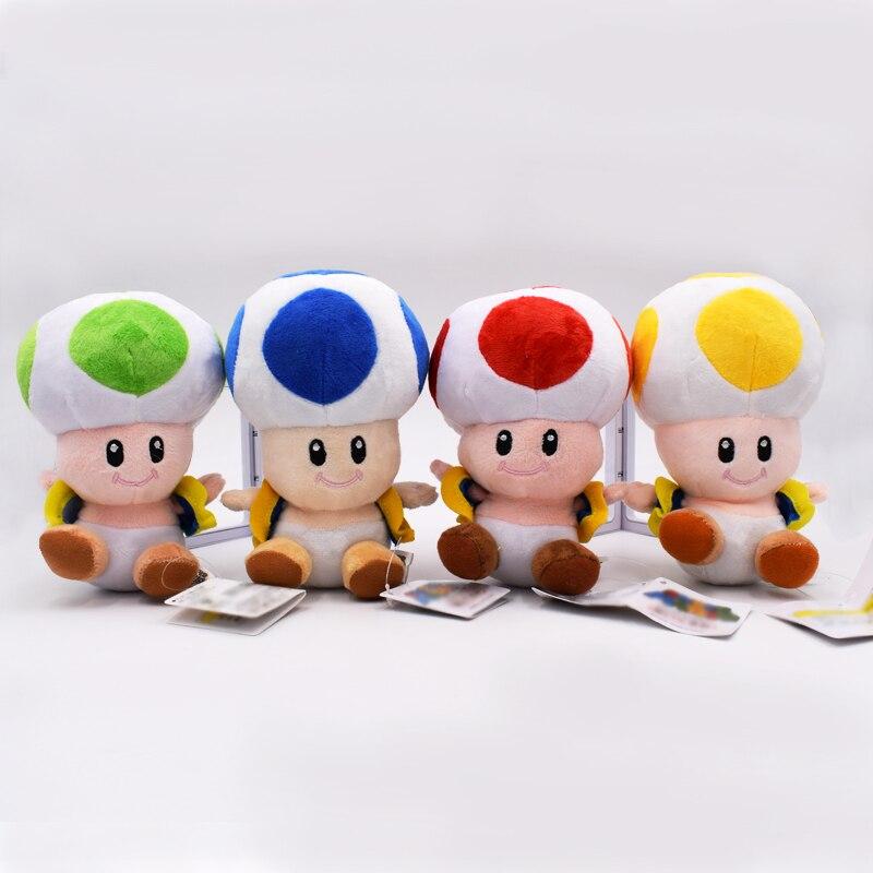 16 Cm 4 Stks/Set Super Mario Knuffel Toad Mushroom Gevulde Pop Kerstcadeau Voor Kinderen Gratis Verzending