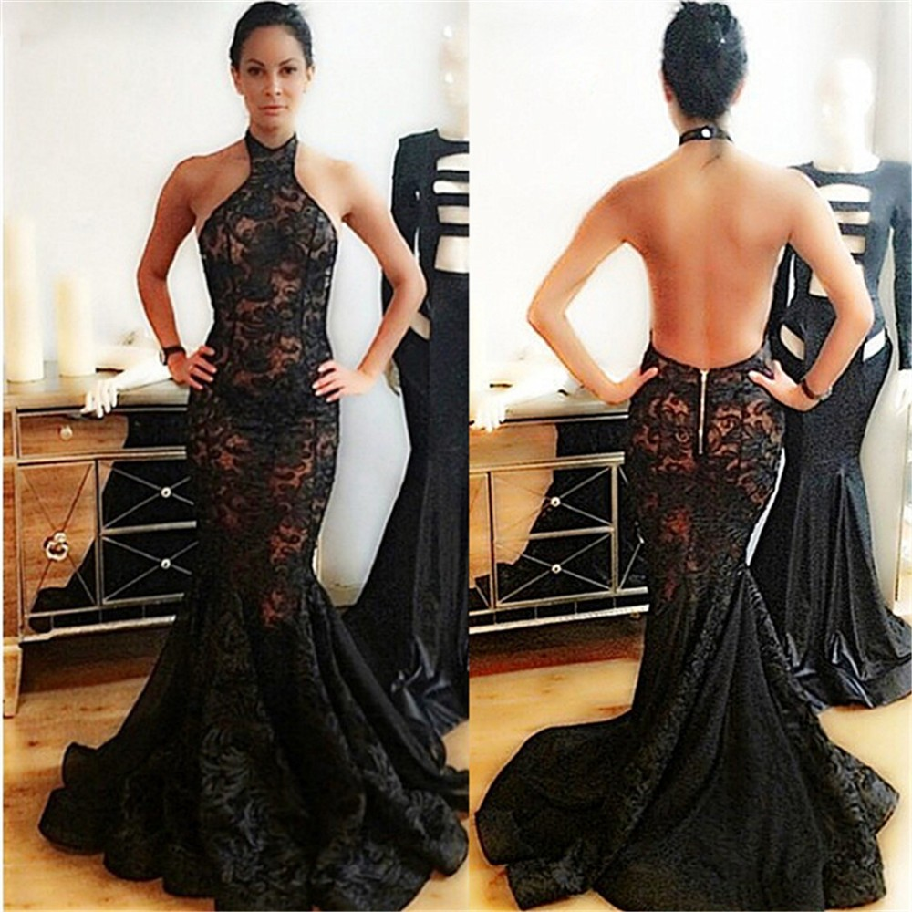 2017 Long Evening Dress Halter Sleeveless Floor Length Lace Mermaid Prom  Dresses Open Back Back Robe De Soiree 97e863e9adab