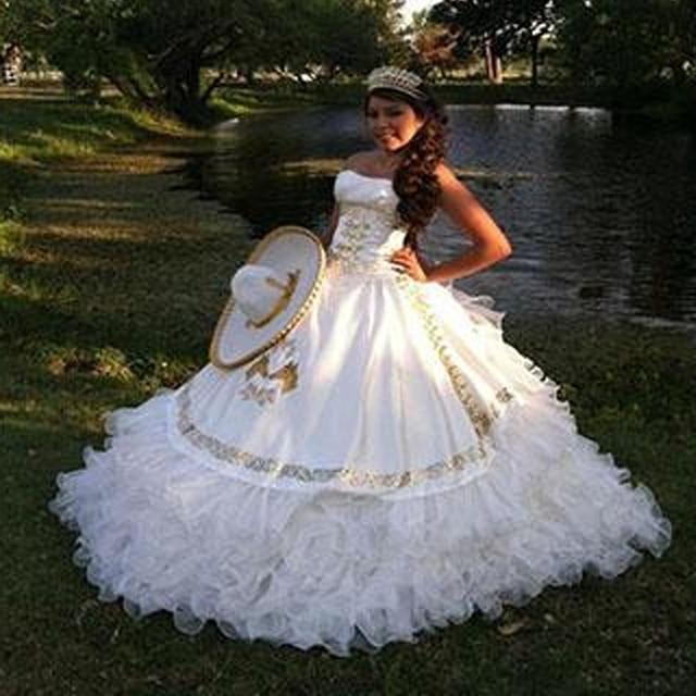 Romantic White Quinceanera Dresses 2016 Custom Make Gold