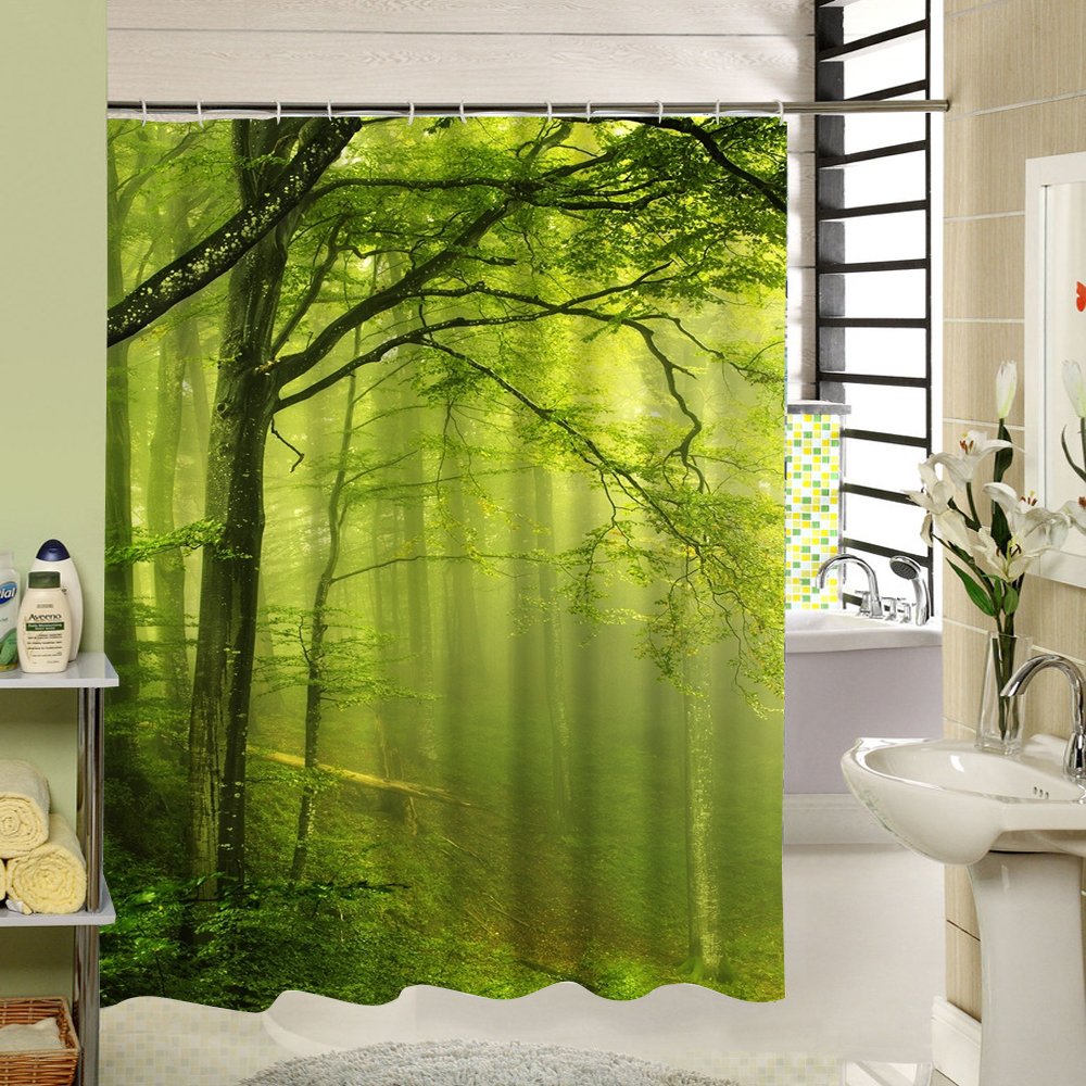 The Scenery Of The Lush And Big Tree In the Original Forest In The Rising Sun Fabric Shower Curtain High Quality Green Tree
