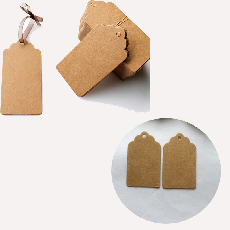 100PCS Kraft Paper Hang Tags Birthday Party Favor Gift Label Brown Cards WBCA TO