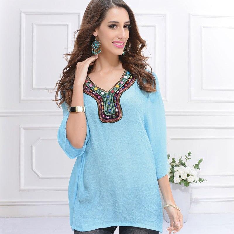 Nuevo 2015 verano mujer Blusas moda étnica estilo más tamaño bordado gasa Tops m