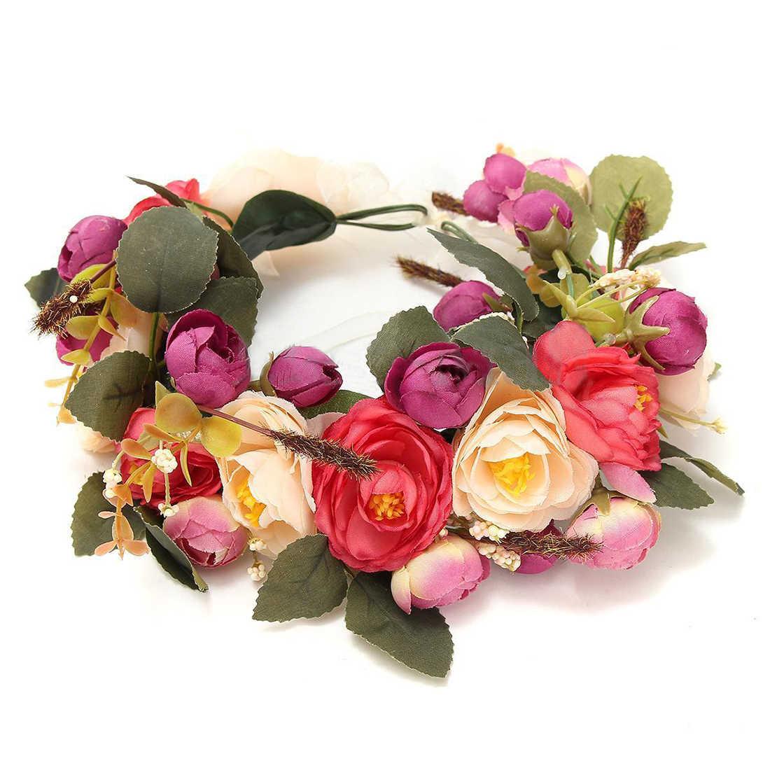 Цветочный венок на голову Женский Свадебный Цветочный венок Богемия Корона лента для волос Белоснежка