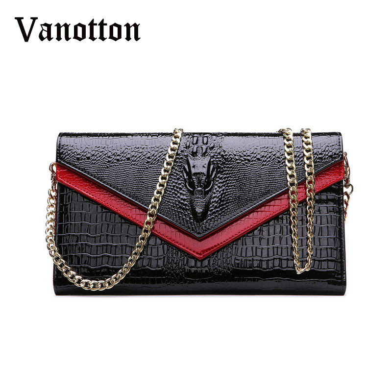 Fashion Brand Genuine Leather Bags Women Crocodile Pattern Leather Shoulder Bag Evening Clutch Wallet Purse Chain Messenger Bag цена