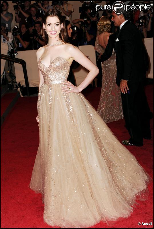 Anne Hathaway Nude Sequins Sweetheart Ball Gown Sweep Train ...