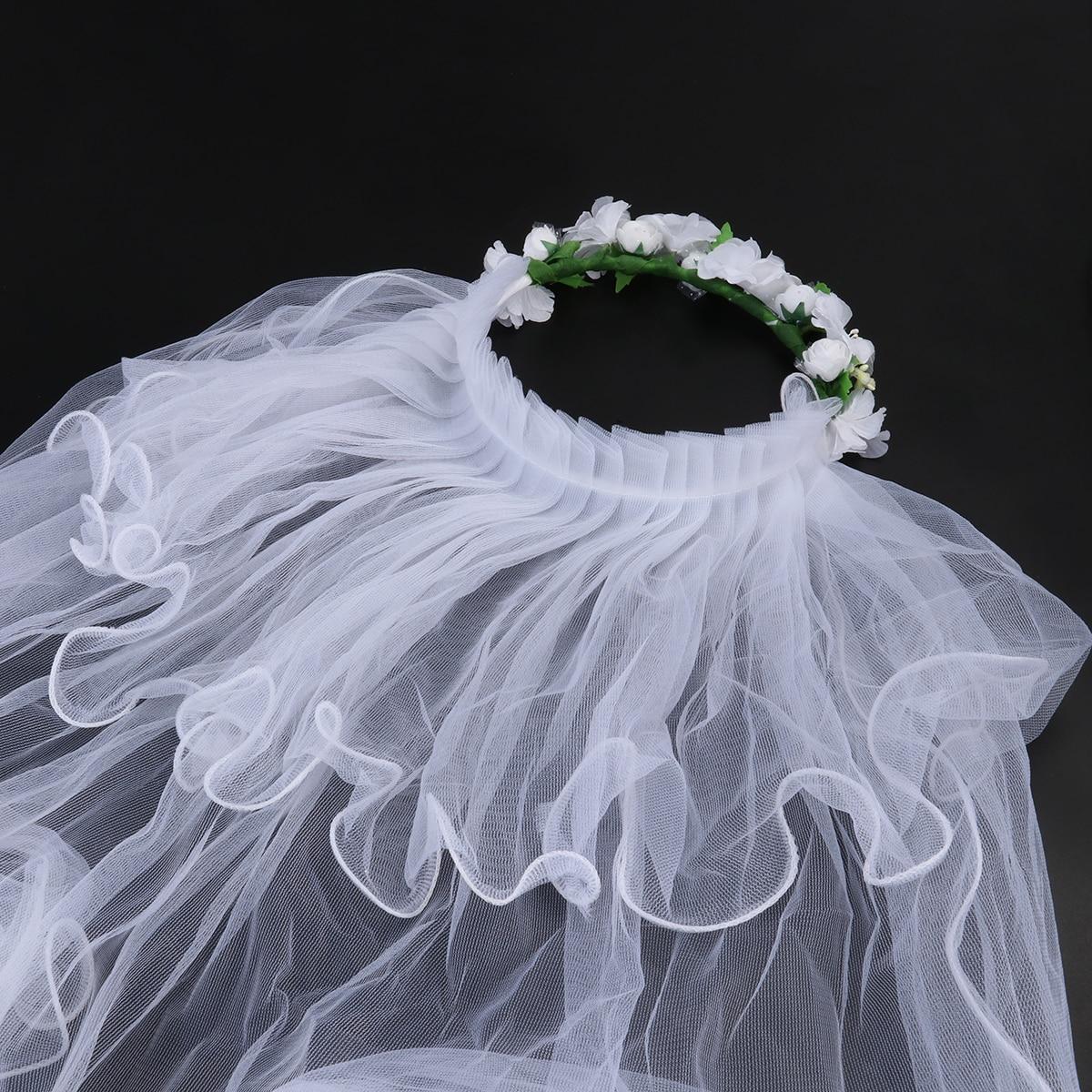 Two Layers Wedding Bridal Veil Flower Girl White Wedding Veils Communion Hair Wreath For Wedding Accessories (White)