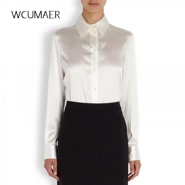 8526a93f0d6 S-XXXL Женская мода шелковая Атласная Блузка Кнопка Женская шелковая блузка  рубашка Повседневная офисная белая
