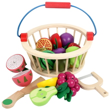 Kitchen Toys Magnetic Wooden Fruit and Vegetable Combination Cutting Toy Set Children Play  Simulation Round Basket Fruit Kits