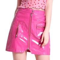 Leather Skirt Zipper Micro mini Skirts Women Pocket Skinny Mini PU High Waist Summer Autumn Sexy Belt Buckle Pink Streetwear