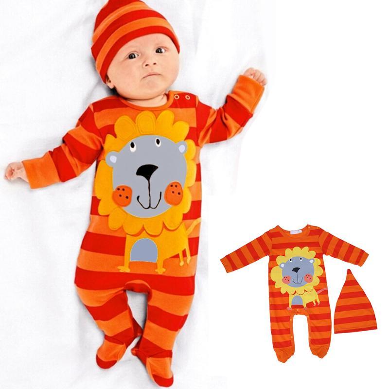 2pcs/set baby boy girl clothes Newborn Cartoon lion/tiger/panda/cow Romper+Cap Baby Boys Girls Clothing Set winter coveralls