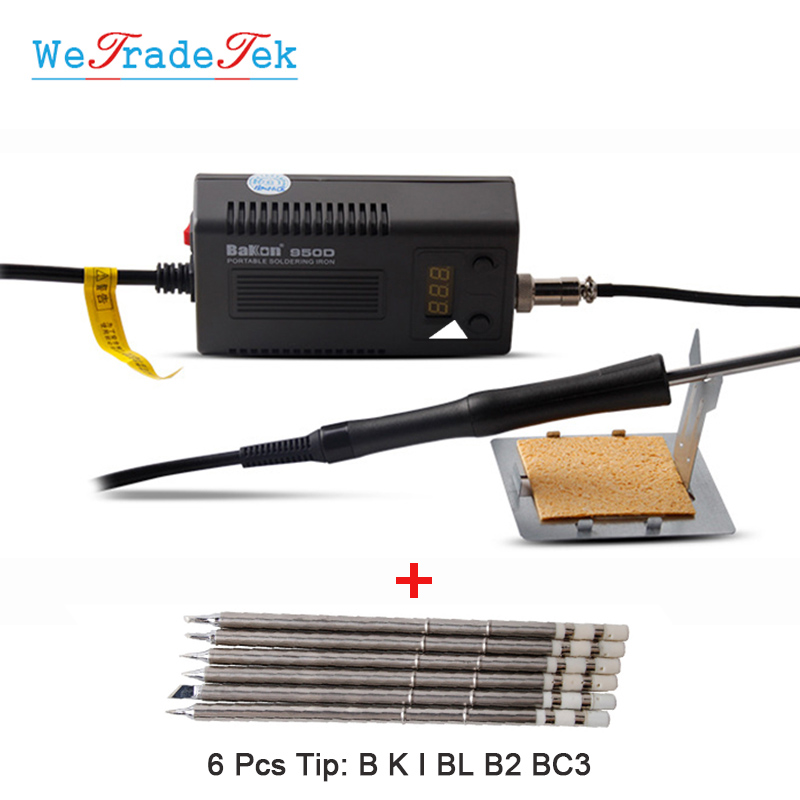 Bakon 950D Soldering Iron Portable Electric Iron Anti-Static BGA Solder Station Welding Tool With T13 Lead Free Tips