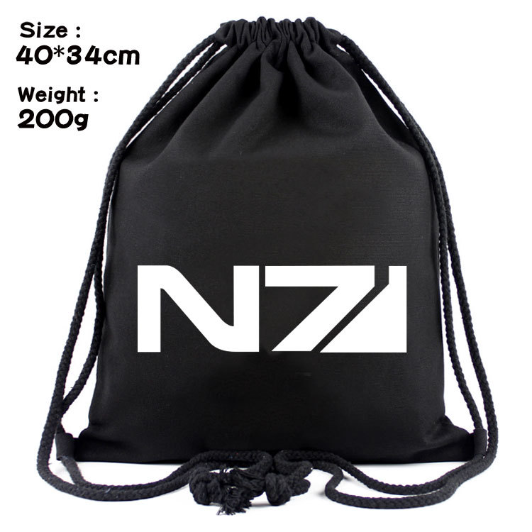 Mass Effect And Canvas Contracted Draw String Bag Backpack Beam Students Sports Backpack Outdoor Tourism