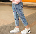 V-TREE Girls Jeans Pants Spring Baby Girl Cotton Embroidery Cherry Pants Children Kids Casual Trousers Teenagers Denim Clothes