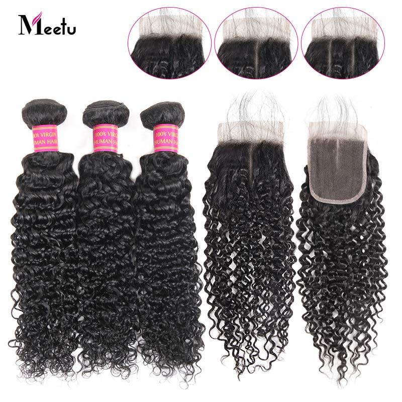 Meetu Kinky Curly Bundles With Closure 3 Bundles with Closure Malaysian Hair Bundles Non Remy Human