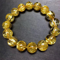 13mm Genuine Natural Gold Hair Rutilated Quartz Bracelet Crystal Round Beads Stretch Wealthy Lucky Stone Gift AAAAA Certificate