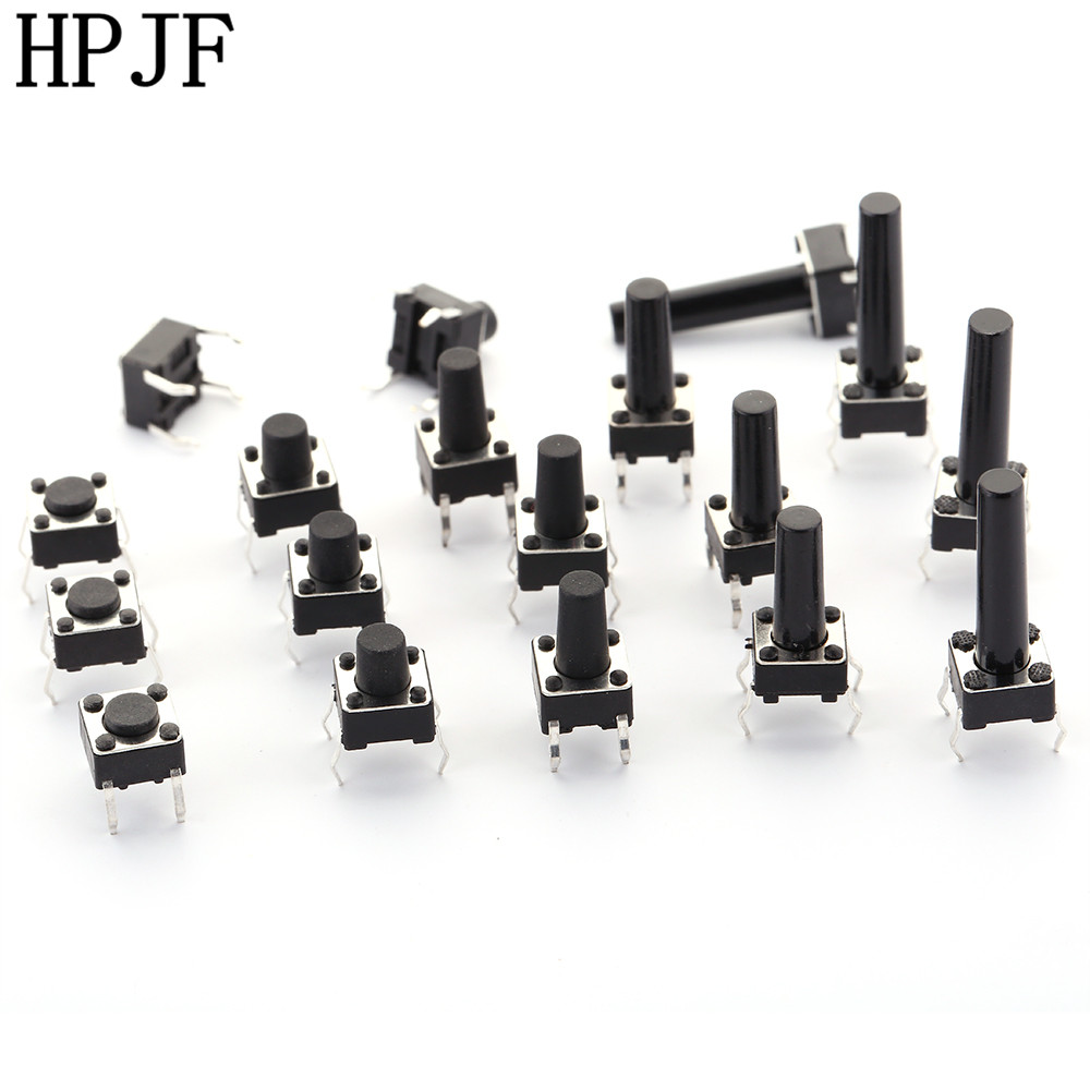 6x6xL=4.3/5/6/7/7.5/8/8.5/9/10/11/12/13/14/15/16/17/18/19/20/21mm High 4Pin DIP Tactile Tact Push Button Micro Switch Self Reset 7 values 70pcs 6x6x4 3 5 6 7 8 9 10mm tact switch tactile push button switch kit sets dip 4p micro switch high quality