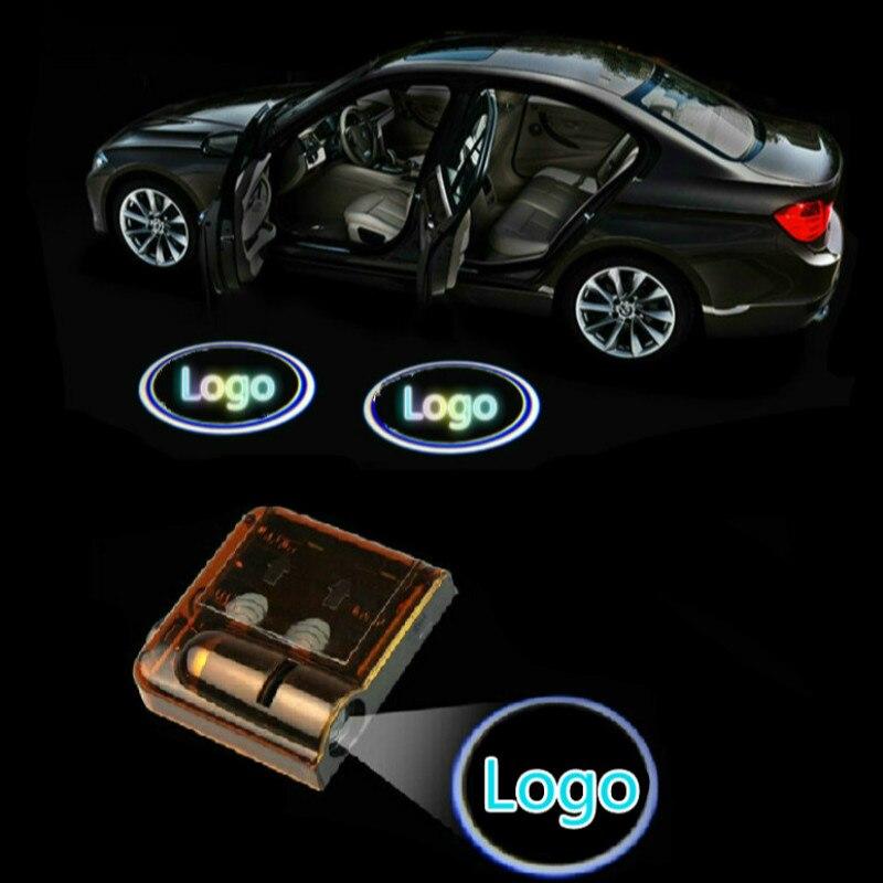 JURUS para Ford Vw 2 piezas Wireless puerta del coche Logo sombra del fantasma Bienvenido luz Led emblema 3d proyector Interior lámpara de coche de estilo