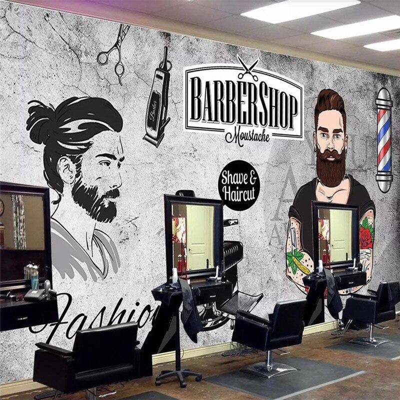 Custom 3d Wallpaper Trend Handsome Cement Wall Beauty Salon Barber Shop Background Wall High-grade Waterproof Material