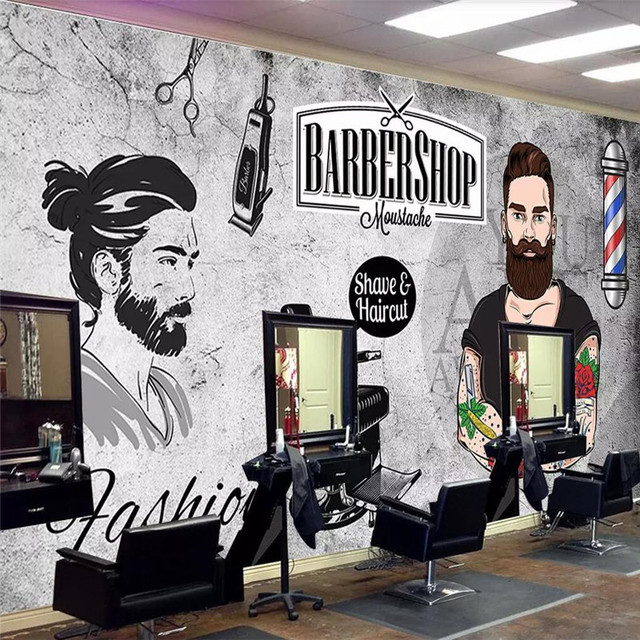 Custom 3d wallpaper trend handsome cement wall beauty salon barber shop background wall high-grade waterproof material