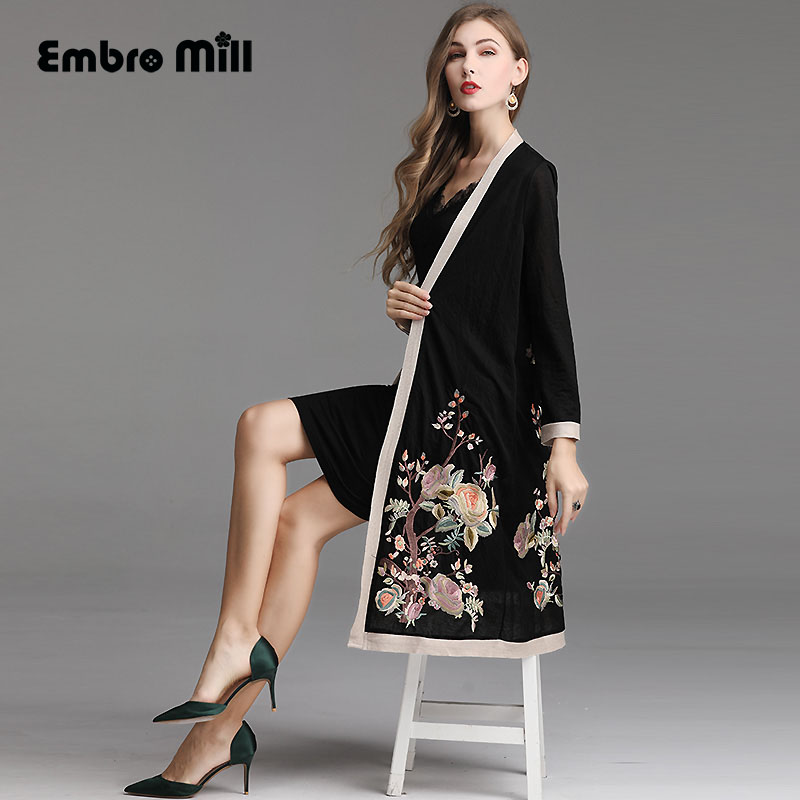 Spring Chinese style V-neck embroidery Sun protection fashion   trench   coat Thin and light elegant coat female Plus size M-5XL