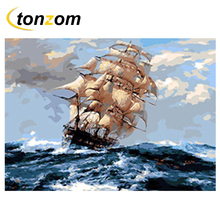 RIHE Boat Sailing Drawing By Numbers DIY Sea Wave Painting Handwork On Canvas Landscape Oil Art Coloring Home Decor