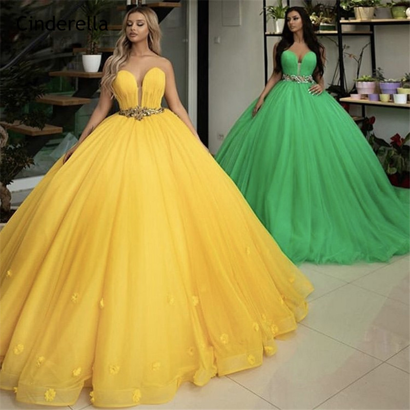 Cinderella Hot Sale Sweetheart Sleeveless Ball Gown Crystal Beaded Sash Soft Tulle Evening Dresses Vestidos De Fiesta De Noche