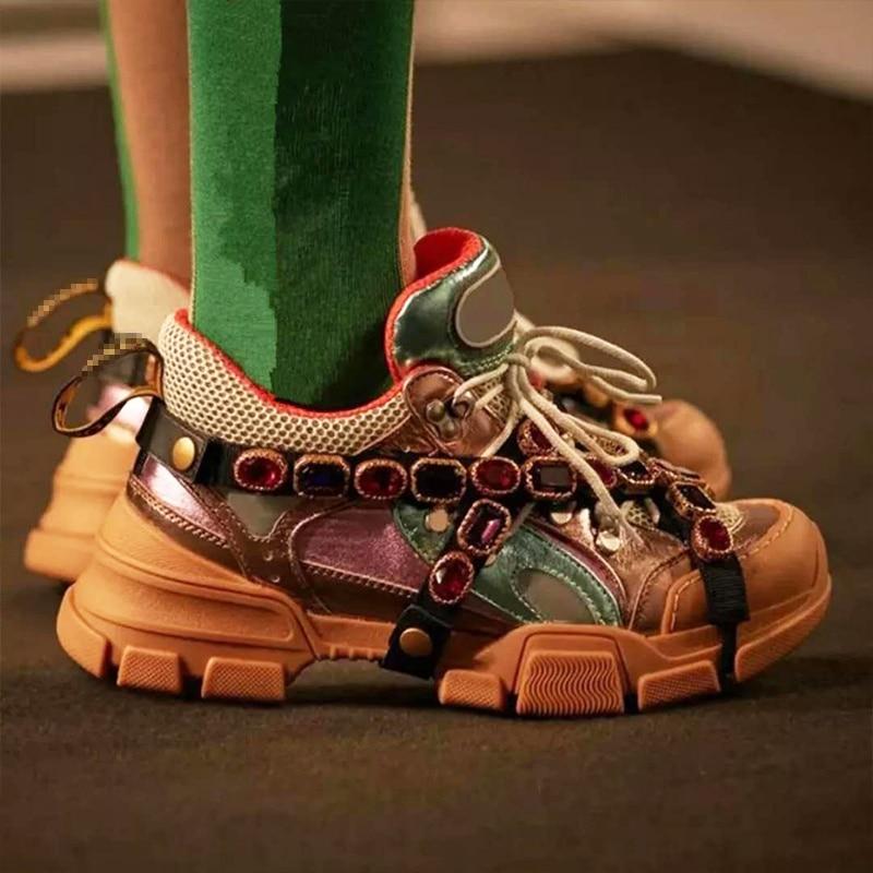 Chaussures Rétro Top Appartements Cuir Élégant Métal Pic Femmes Chaîne En Coloré Pic Low as Embelli As Marque Sneakers Cristal xw078xYXq