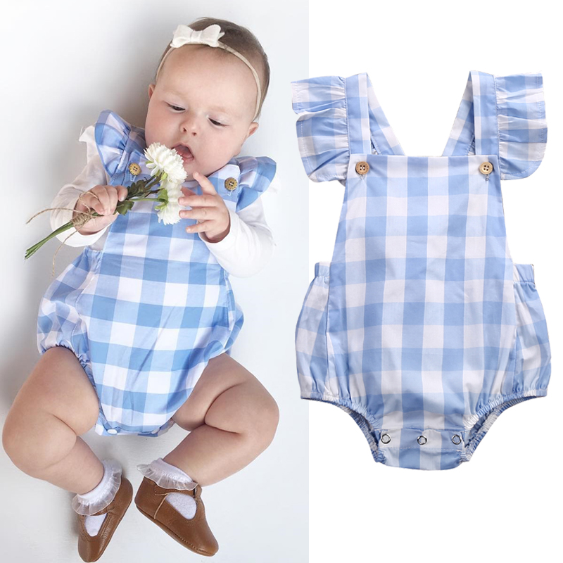 Baby Girl Clothes Summer Ruffled Sleeves Blue White Plaid Baby Romper Newborn Toddler Kids Jumpsuit Sunsuit Outfits 2017 summer toddler kids girls striped baby romper off shoulder flare sleeve cotton clothes jumpsuit outfits sunsuit 0 4t