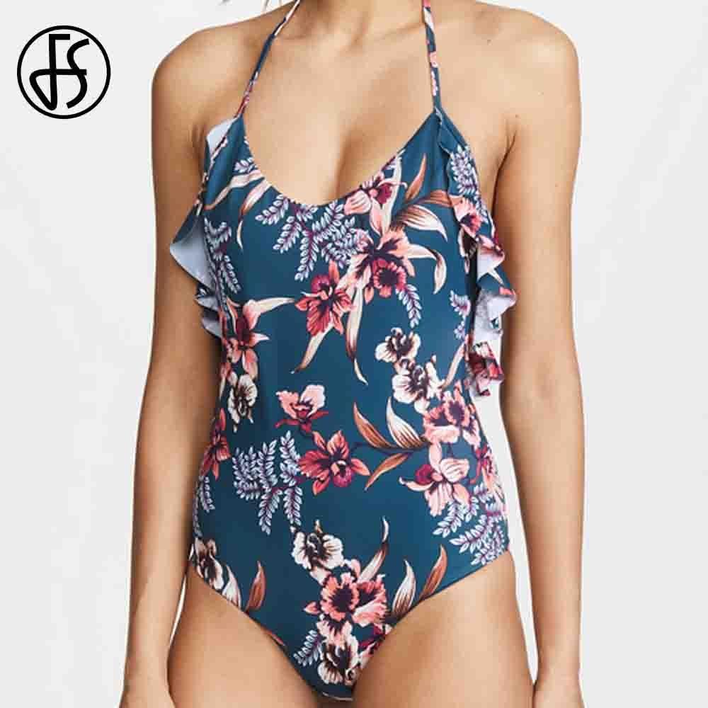 FS Ruffle Flower Print Halter Sexy One Piece Swimsuit High Cut Swimwear Women Bodysuit Backless Bathing Suit Beach Wear Monokini