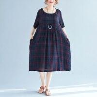 New Summer Large Size Loose Dress Literary Retro Plaid Printing Loose Dress Elegant Casual Style Dress