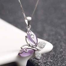 Butterfly Jewellry 925 Sterling Silver Crystals Pendant Necklace for Women Engagement Fine Jewelry Choker