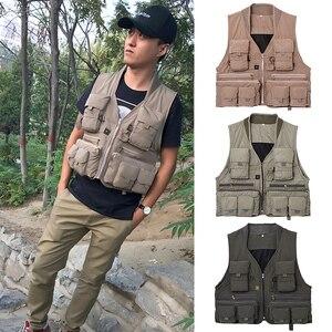 Image 4 - 야외 낚시 양복 조끼 민소매 메쉬 남자 낚시 자켓 멀티 포켓 조끼 사진 낚시 사냥 등산