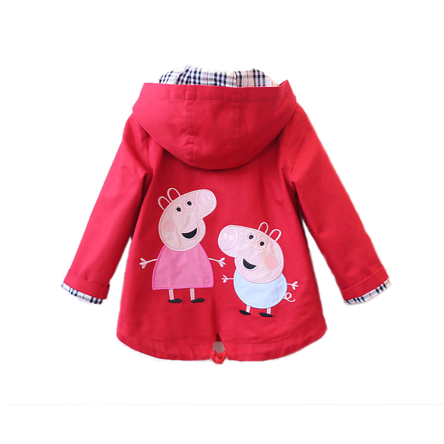 cute causal little girl trench coat cartoon pig cotton trench jacket for 2-8years girls kids children outerwear clothes coat hot
