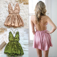 Sexy Satin Dress Summer Backless Elegant Party Dresses Spaghetti Strap Women Sleeveless V-Neck Satin Dress Green Pink Khaki spaghetti strap satin wrap dress