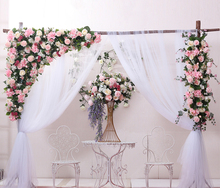 Hot Pink color with grass green Wedding Flower Wall Artifical Silk Flower Backdrop Wedding Home Decoration