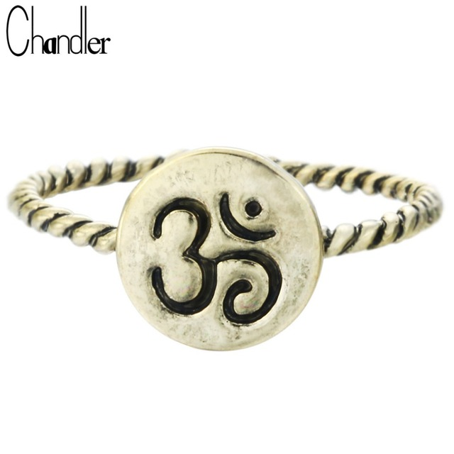 Chandler New Arrival Twist OM Symbol Midi Rings Round Charm Yago Jewelry Antique Silver Bronze Plated Friendship Birthday Gift