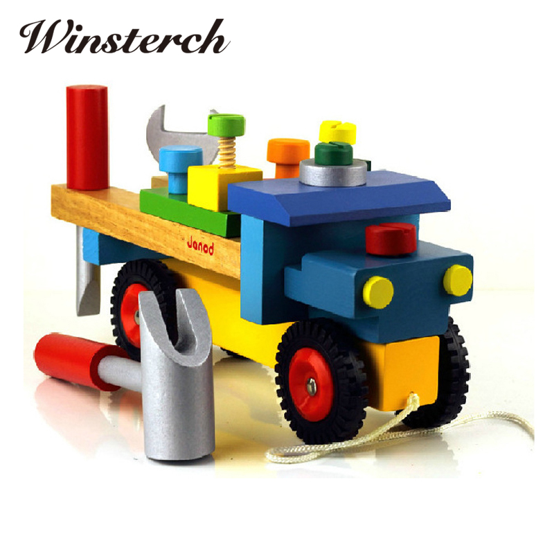 Baby DIY Toys Wooden Train Dragging Truck Toy Children Kids Educational Diecasts Toys Vehicle Blocks Set ZS017