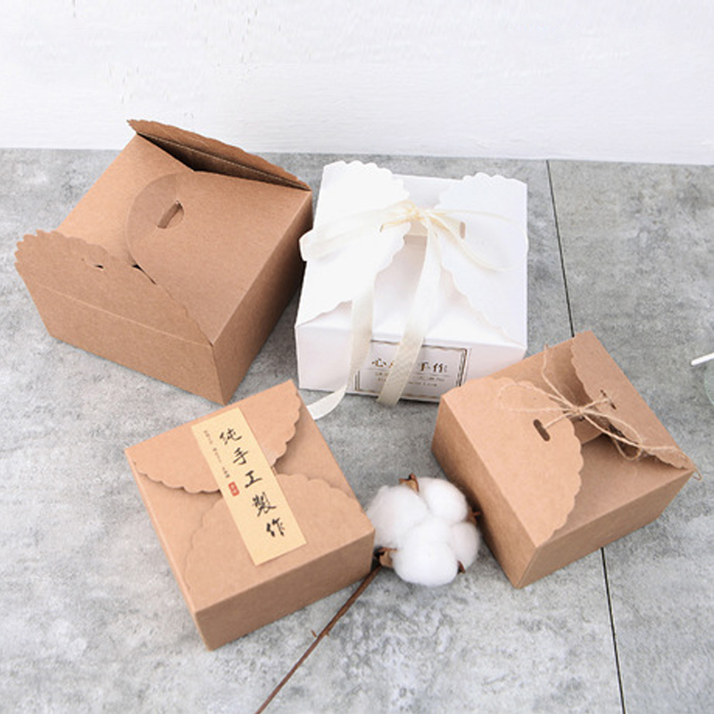 10PCS home decoration wedding party cupcake boxes pastry and candy kraft paper gifts box bakery packaging kids birthday cake box in Gift Bags Wrapping Supplies from Home Garden
