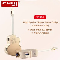 CHYI Cool Guitar Model Multi USB Hub 4 Ports USB 3 0 Hub With VGA Output