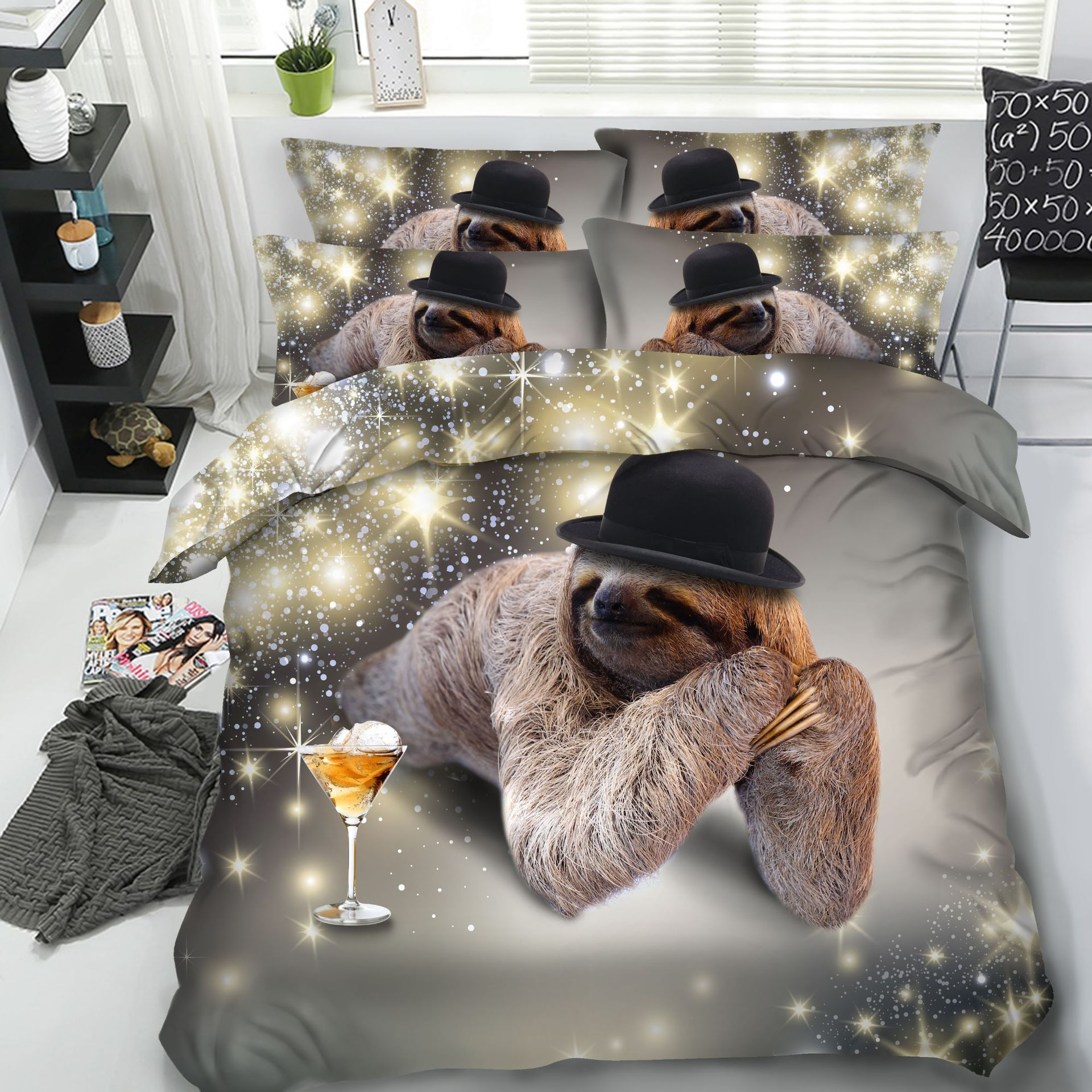 New Sloth Bedding Set 3d Queen Size Animal Comforter Duvet