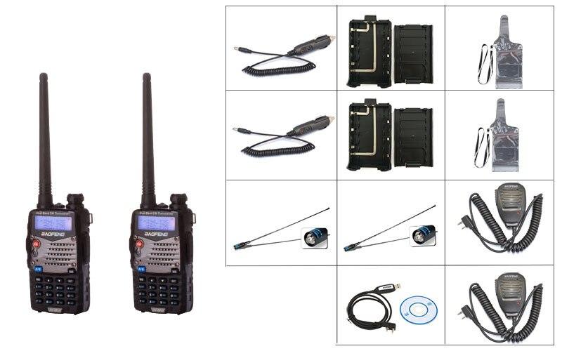 2 Black BaoFeng UV 5RA Two Way Radio 1 programing cable 2 BF MIC 2 771